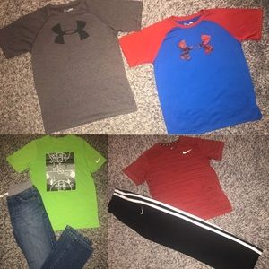 Nike & Under Armour pants short sleeve tops L XL